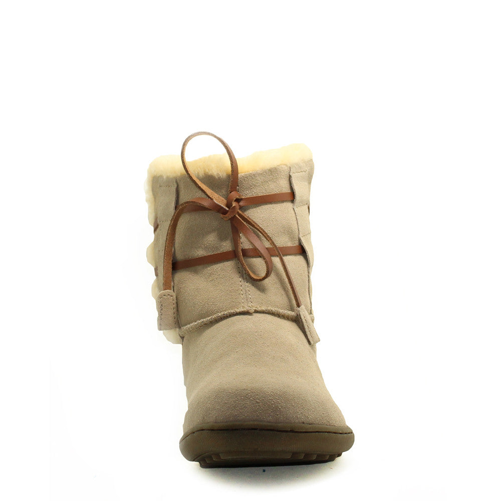 Lace Up Short Boots with Stitch - Sand