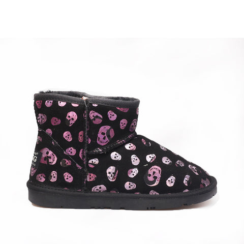 Skull Short Ugg Boot - Purple/Silver