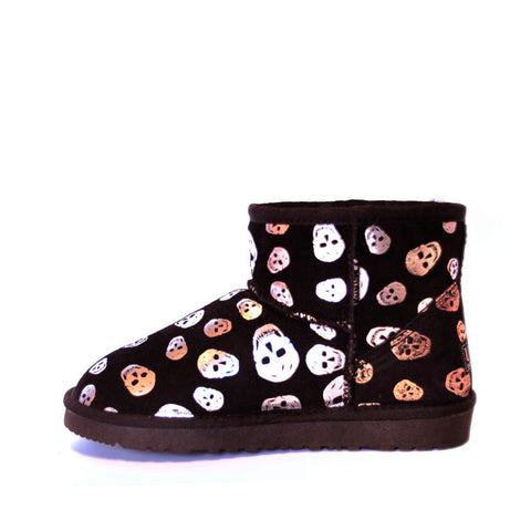 Skull Short Ugg Boot - Gold/Silver