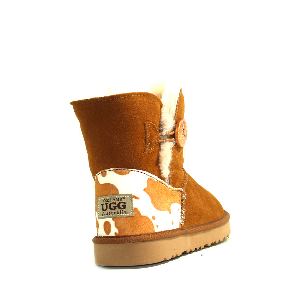 Cow Print Mini Ugg Boot - Chestnut