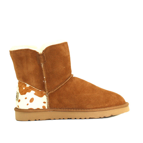 Cow Print Short Ugg Boot - Chestnut