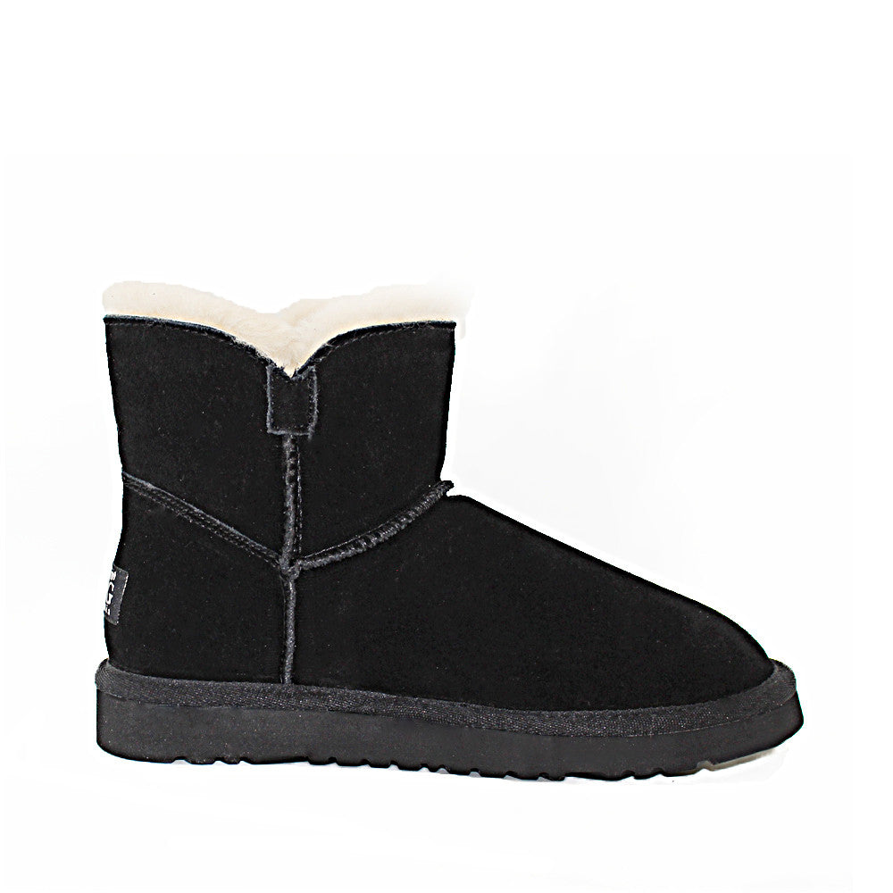 Crystal Button Ugg Boot - Black