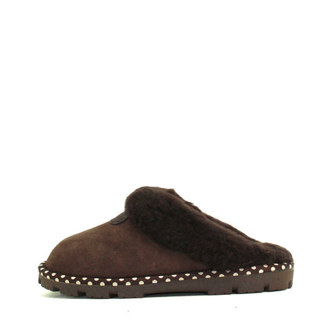 Spotted Sheepskin Wool Scuff - Chocolate