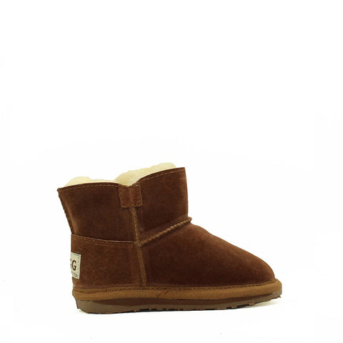 One Button Kids Boot - Chestnut