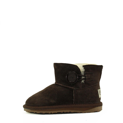 One Button Kids Boot - Chocolate