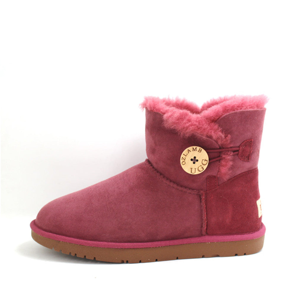 Classic One Button Ugg Boot - Wine Red