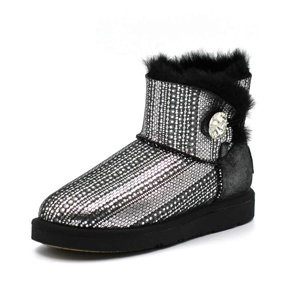 Crystal Dot Short Ugg Boot - Black