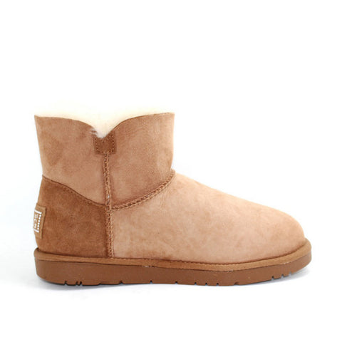 Classic Crystal Button Ankle Ugg Boot - Chestnut