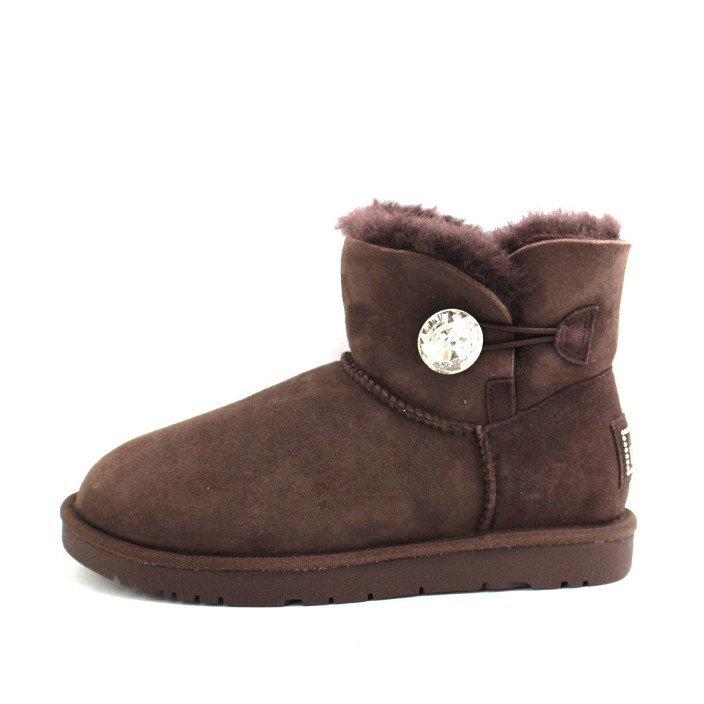 Classic Crystal Button Ankle Ugg Boot - Chocolate