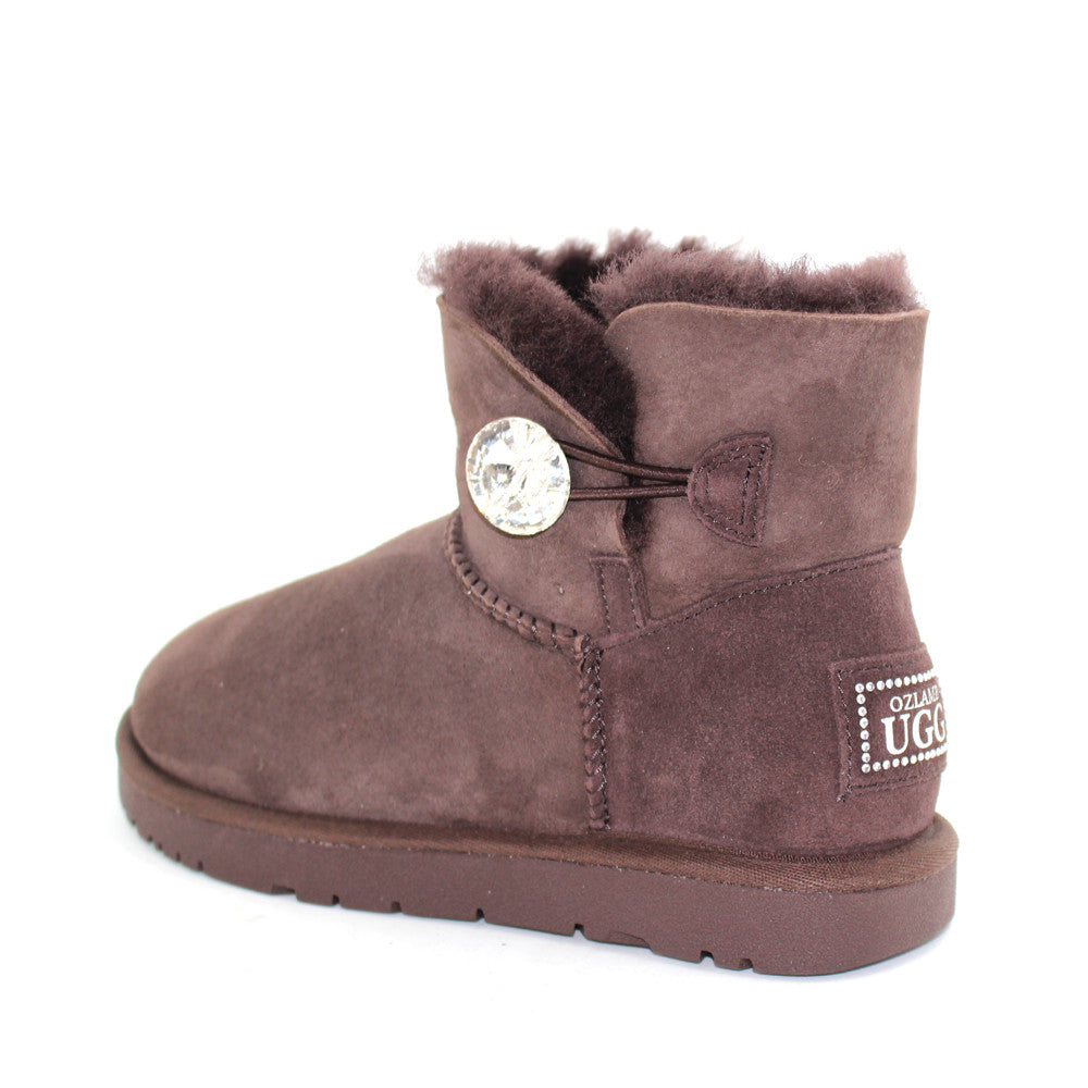 ac520d3c452 Classic Crystal Button Ankle Ugg Boot - Chocolate
