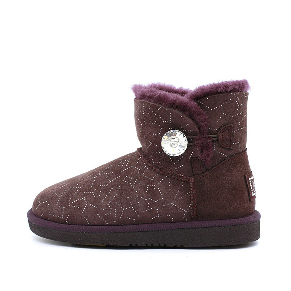 Starsky Crystal Short Ugg Boot - Wine Red