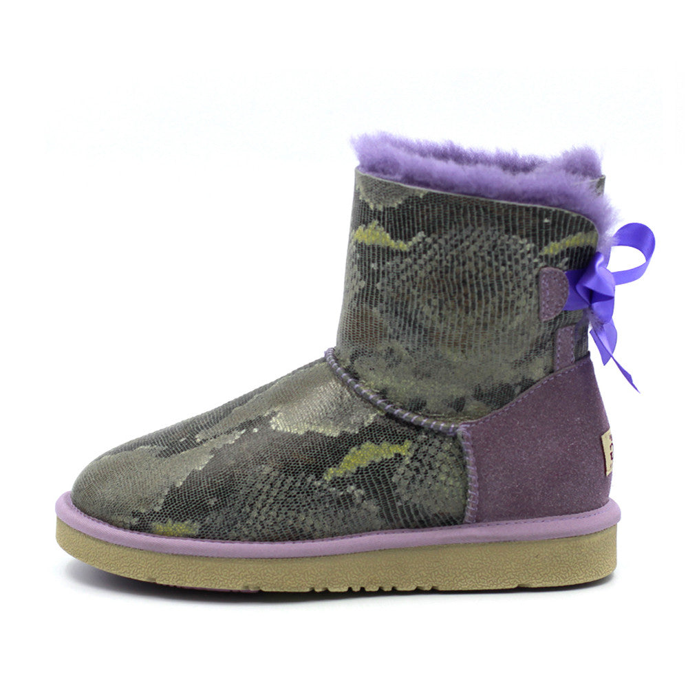 Fiona Back Bow Short Ugg Boot - Purple