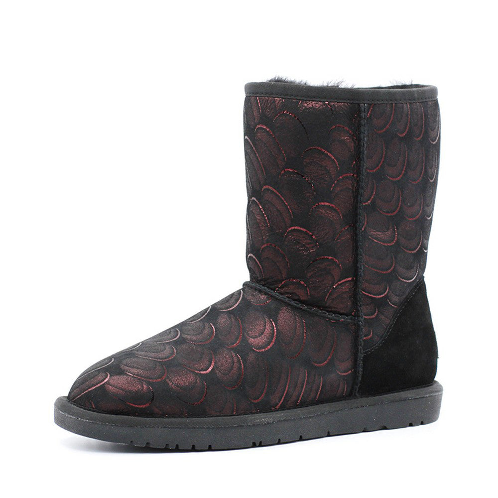 Peacock Medium Ugg Boot - Black