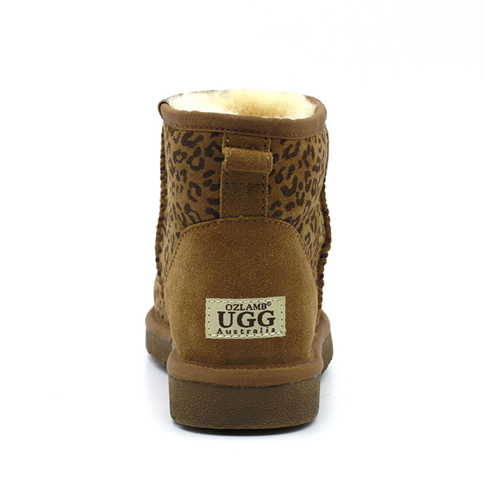 Leo Print Short Ugg Boot - Chestnut