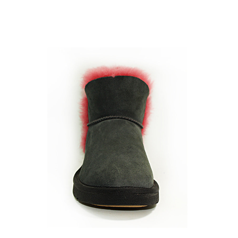 Cornsilk Ankle Ugg Boot - Black Red