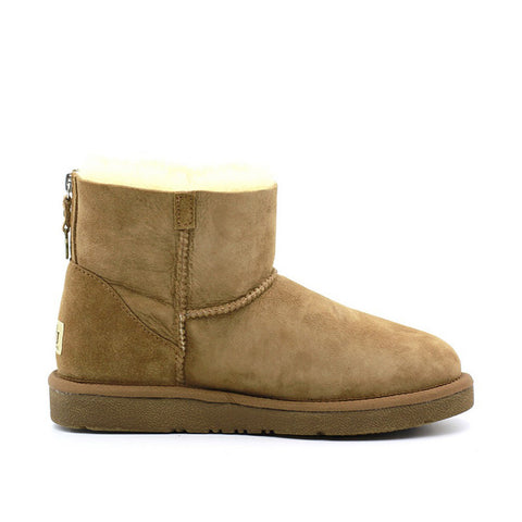 Back Zipper Short Ugg Boot - Chestnut