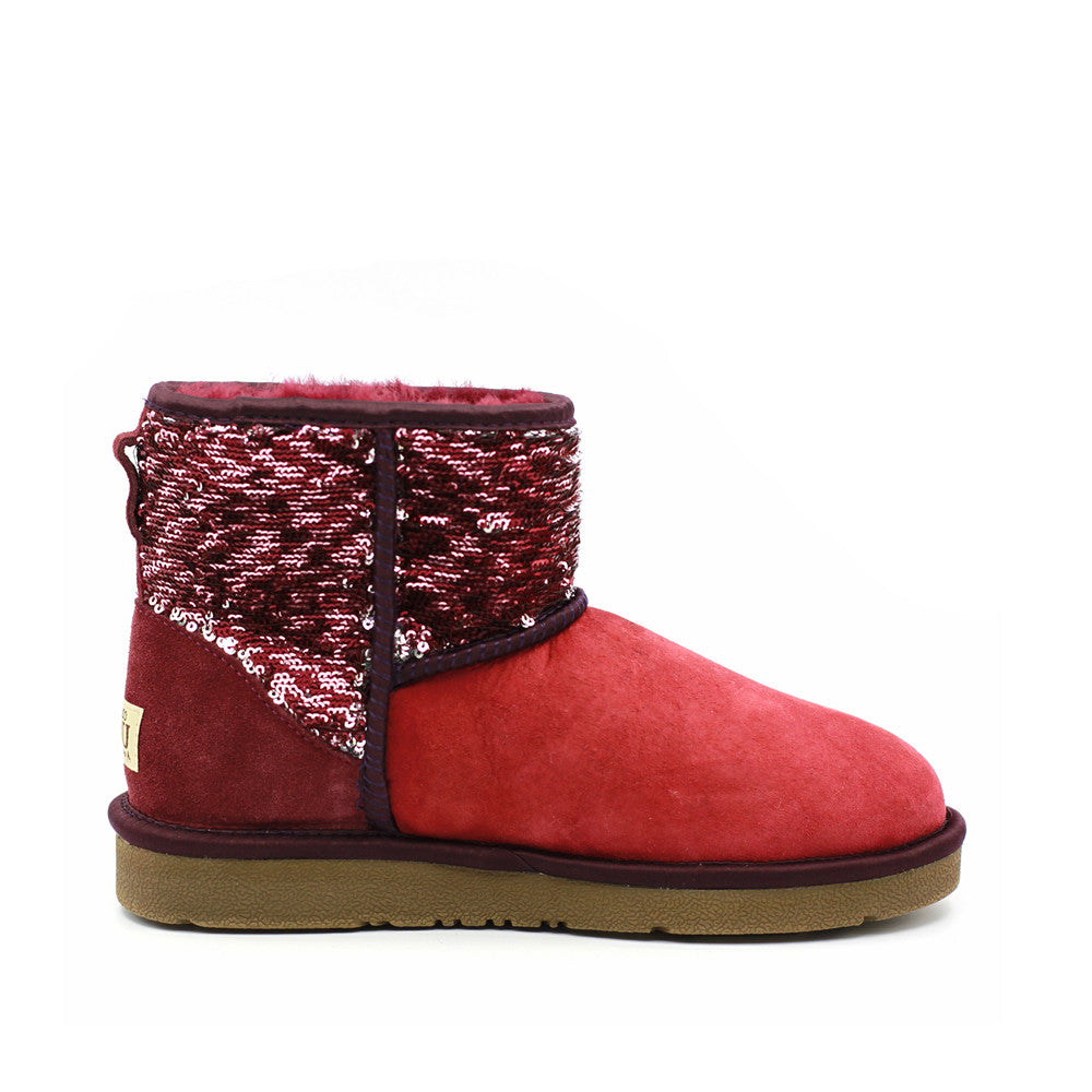 Sparkle Short Ugg Boot - Wine Red