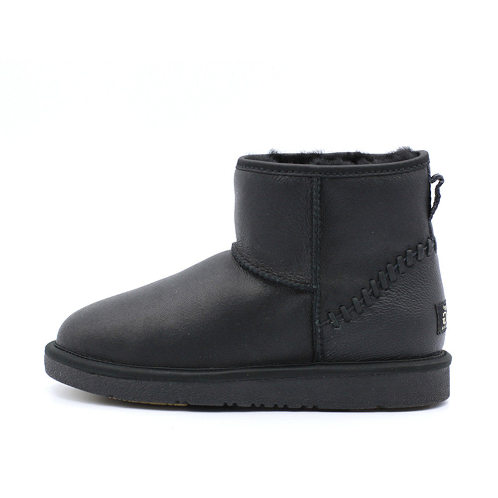 e7ac0dea5dc Leather Short Ugg Boot - Black