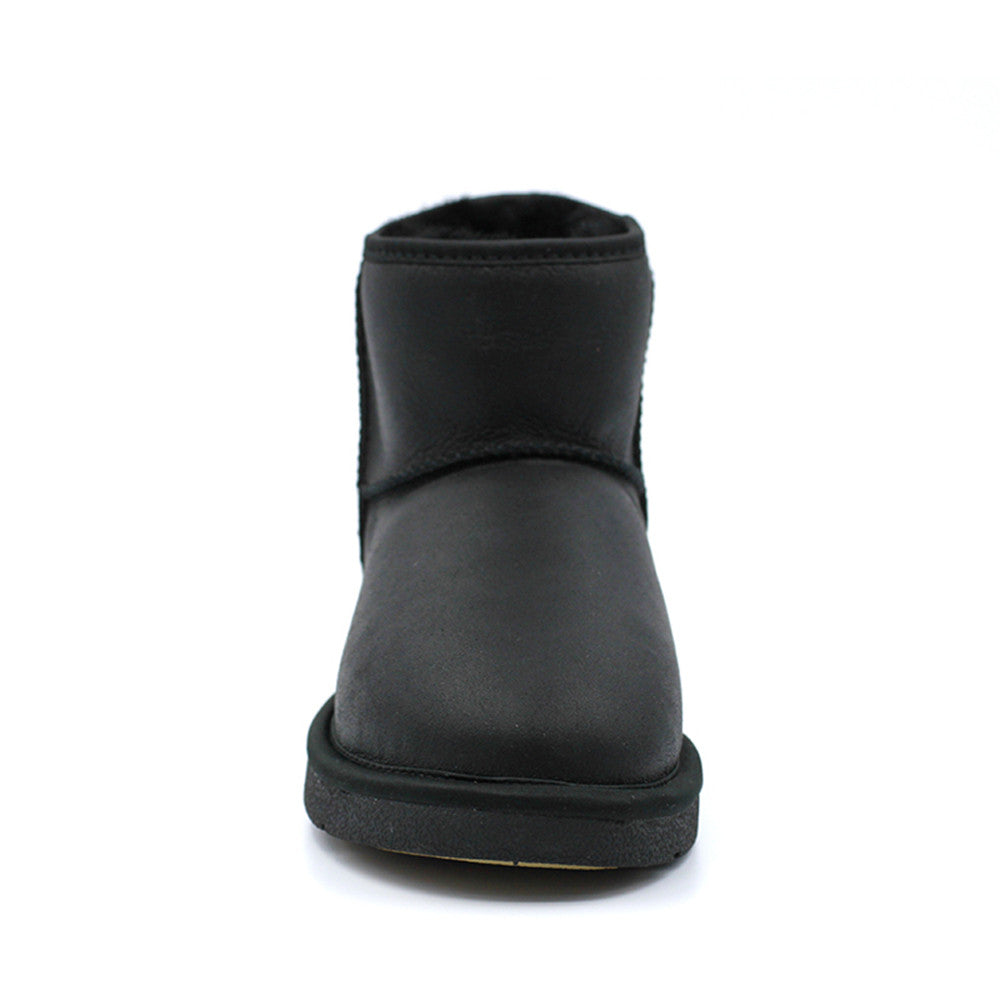 Leather Short Ugg Boot - Black