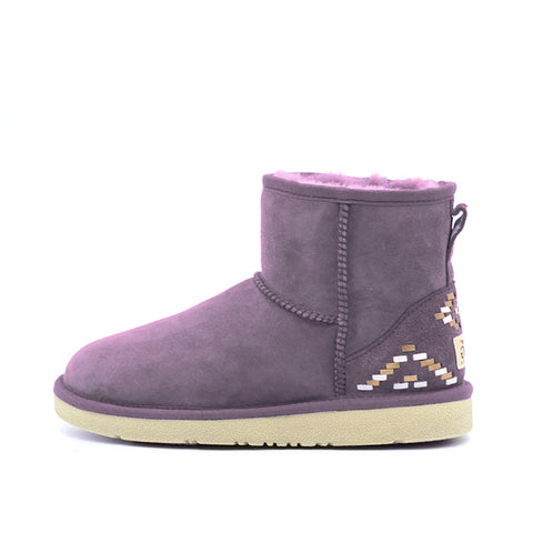 Geometric Short Ugg Boot - Purple