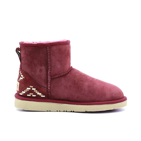 Geometric Short Ugg Boot - Wine Red