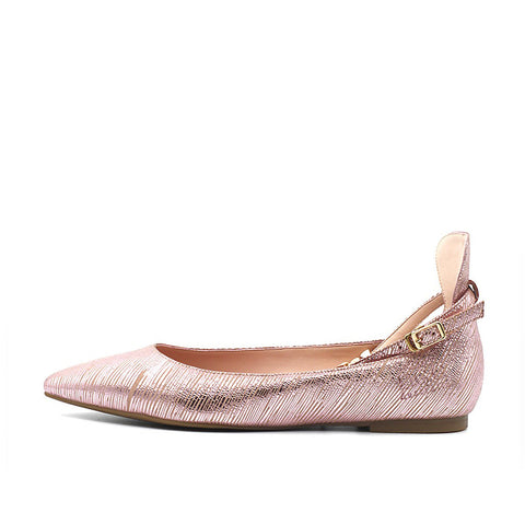 Chelsea Ballet Flat with Ankle Strap - Pink
