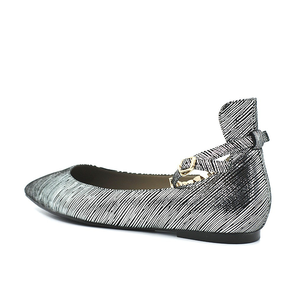 Chelsea Ballet Flat with Ankle Strap - Silver
