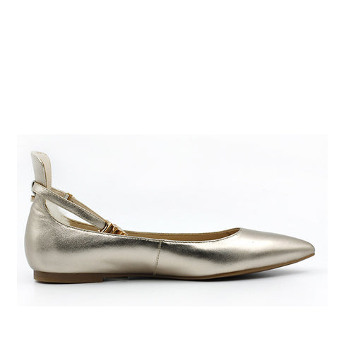 Chelsea Ballet Flat with Ankle Strap - Gold