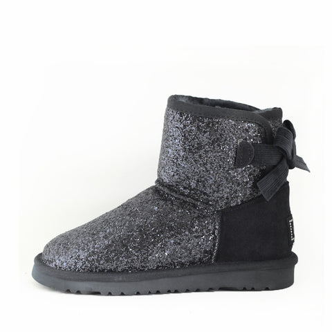 Glitter Ribbon Back UGGS - Black