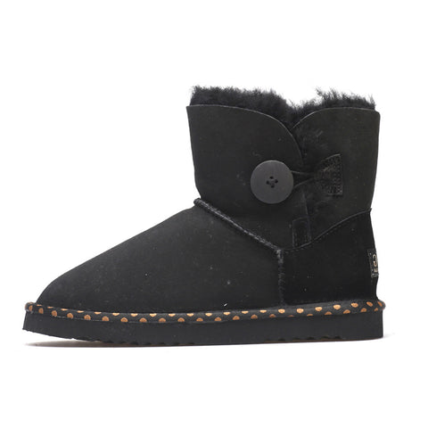 Spotted One Button Ugg Boot - Black