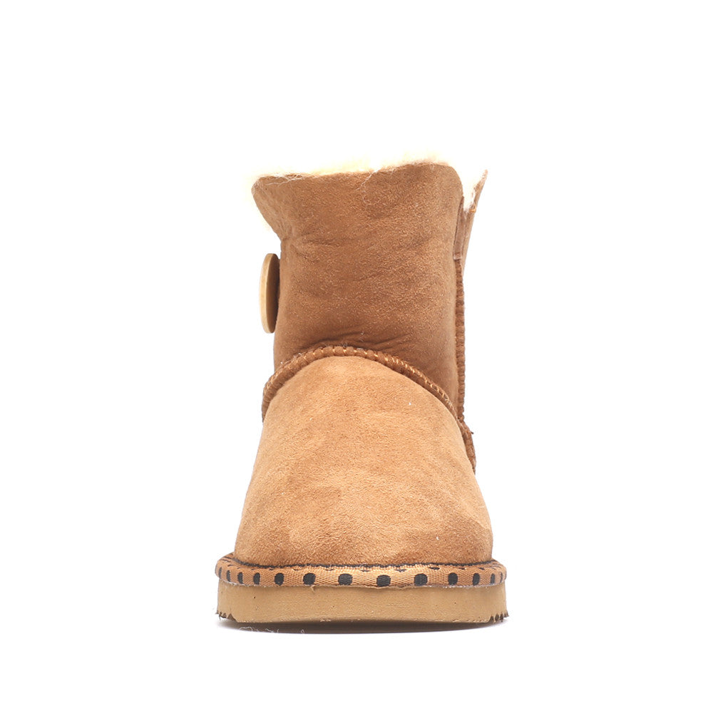 Spotted One Button Ugg Boot - Chestnut