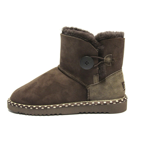 Spotted One Button Ugg Boot - Chocolate