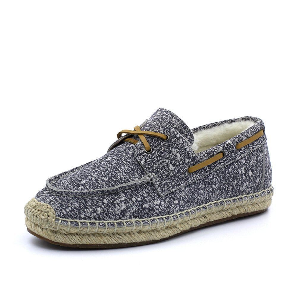 Slater Wool Boat Shoes - White Grey