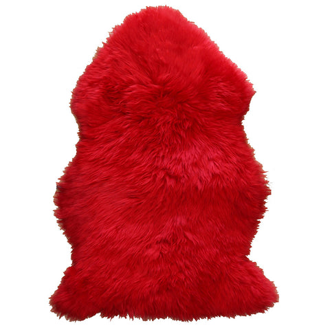 Natural Sheepskin Rug - Red