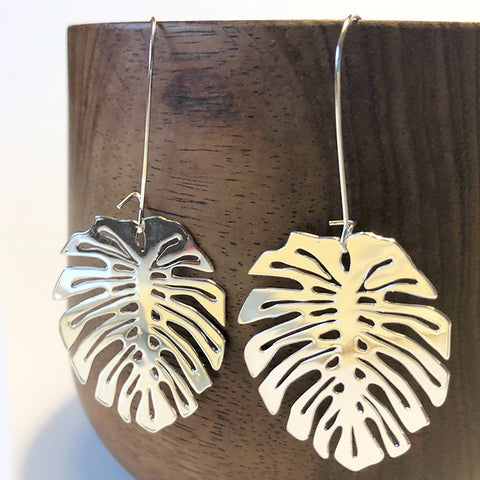 Monstera Leaf Silver Plated Earrings