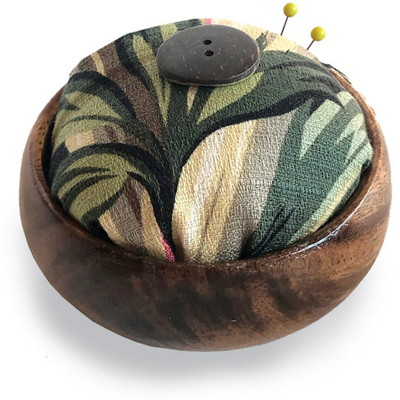 Barkcloth Pin Cushion - Leaf