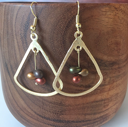 Brass Hanging Metal Pounder Earrings