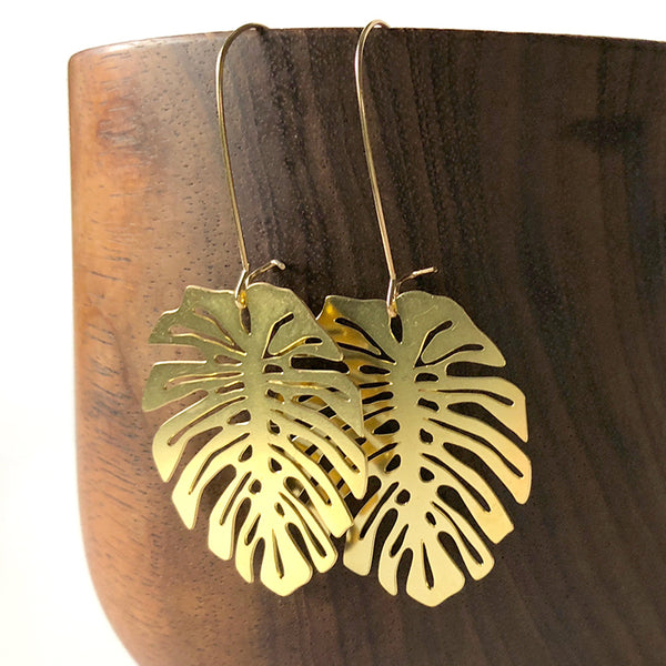 Monstera Leaf Brass Earrings