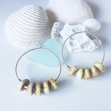 Natural Puka Shell Hoop Earrings