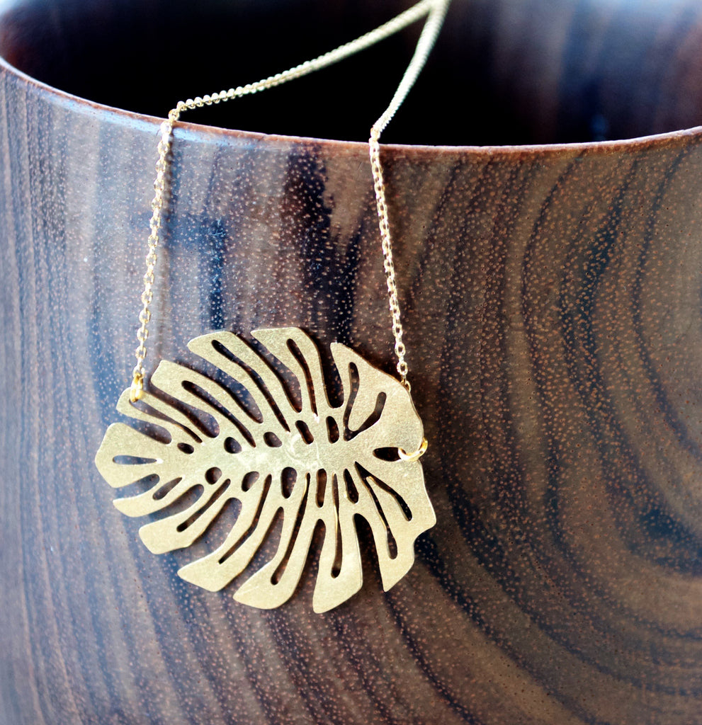 Monstera Brass Necklace