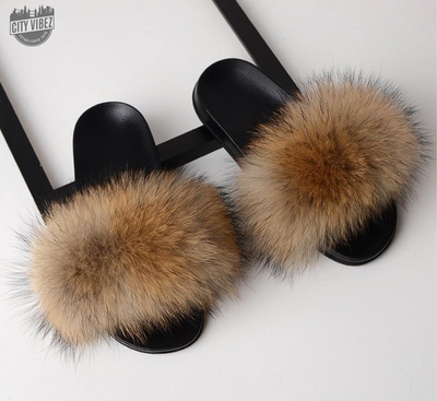 Puffy Fur Statement Sliders