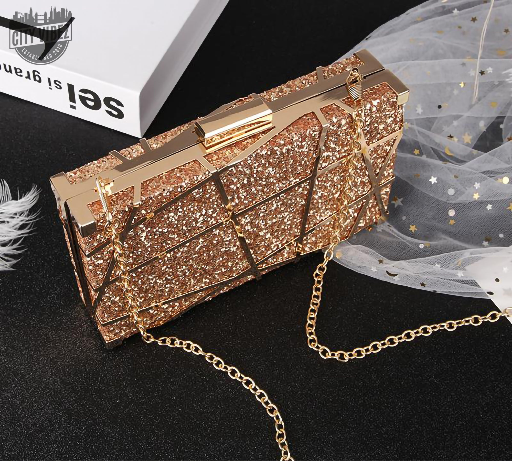 Opulent Sequinned Clutch Bag
