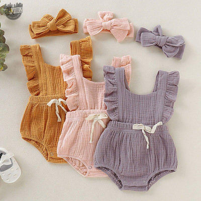 Ambrosial Baby Jumpsuit With Headband
