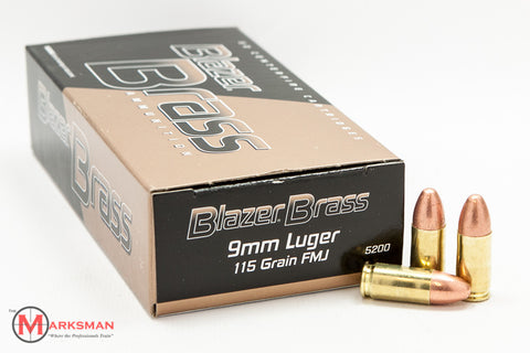 CCI Blazer Brass 9mm, 115 gr. FMJ