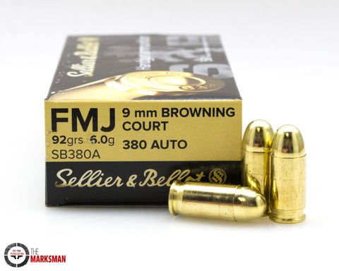 Sellier and Bellot .380 ACP, 92 Gr. FMJ