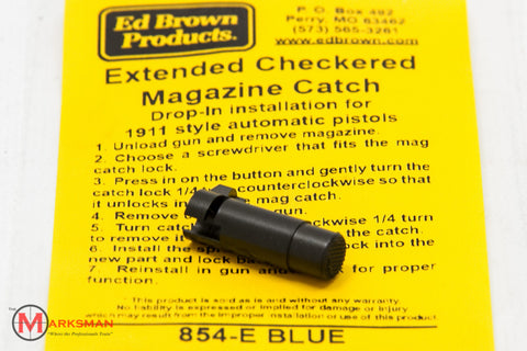 Ed Brown 1911 Extended Checkered Magazine Catch, Blued