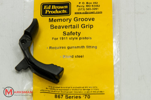 Ed Brown 1911 Memory Groove Beavertail Grip Safety, Blued, Series '70