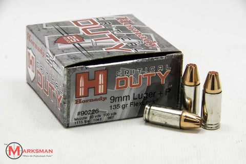 Hornady Critical Duty 9mm Luger +P, 135 Gr. Flexlock