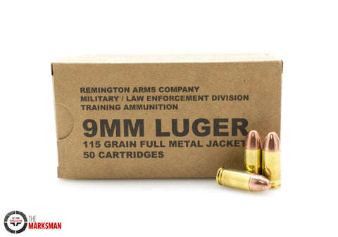 Remington 9mm Luger 115 Gr. FMJ, Military Surplus, 50 Rounds