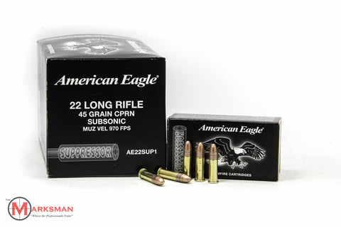 American Eagle Suppressor .22 lr, 45 Gr. CPRN, Subsonic